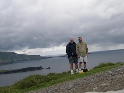 "Ed and Joe â€"" hiking up to Bray Head on Valencia Island."
