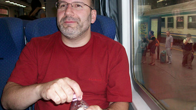 Joe settling into his seat for the train ride from Manarola to Florence. Travel tip: upgrading to a non-smoking first class (prima clase, non fumare) car is definitely worth it on longer trips.