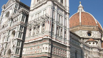 The distinctive architecture and marble stone of the Duomo in Florence.