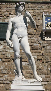 Michelangelo's famous statue of David, symbolizing triumph over tyranny, stood in the Piazza della Signoria in Florence for more than 350 years until it was moved in 1863 to its current location in the Galleria dell'Accademia. A replica stands in the piazza today.