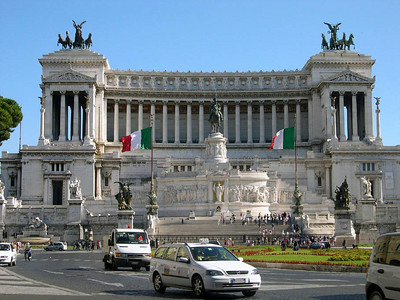 The Vittorio Emmanual Monument, honoring the first King of unified Italy (1870).