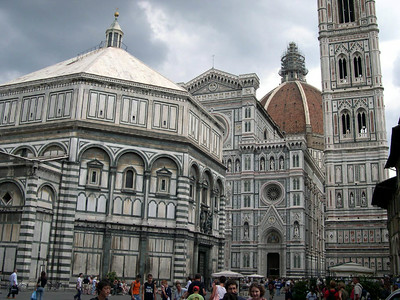 Firenze: the Baptisty (foreground), the Duomo and Campanile, and Brunelleschi's great dome (background).