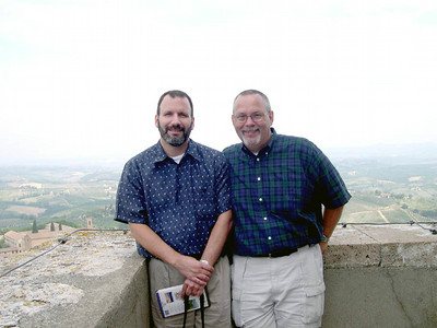 Here are Joe (left) and Ed (right) at the top of Torre Grossa in San Gimignano.