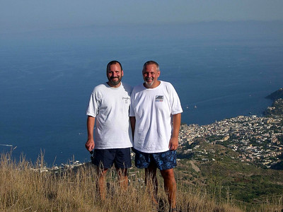 Exploring one afternoon, here we are at the highest point on the island with the harbor and town of Lipari in the background.