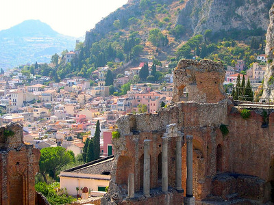 The ruins of the Roman Amphitheatre in Taormina date back to the 3rd Century BC.