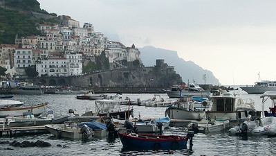The harbor at Amalfi with the neighboring town of Atrani.