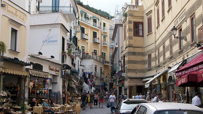 In Amalfi -- notice the cars waiting at the red light (this is a road through town).