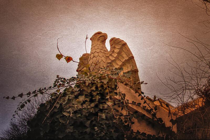 Eagle at Ferguson's Castle, a.k.a. The Monastery, Huntington Bay, Suffolk County, Long Island, New York