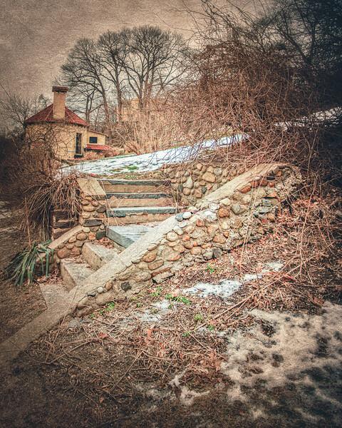 Steps to Ferguson's Castle, a.k.a. The Monastery, Huntington Bay, Suffolk County, Long Island, New York