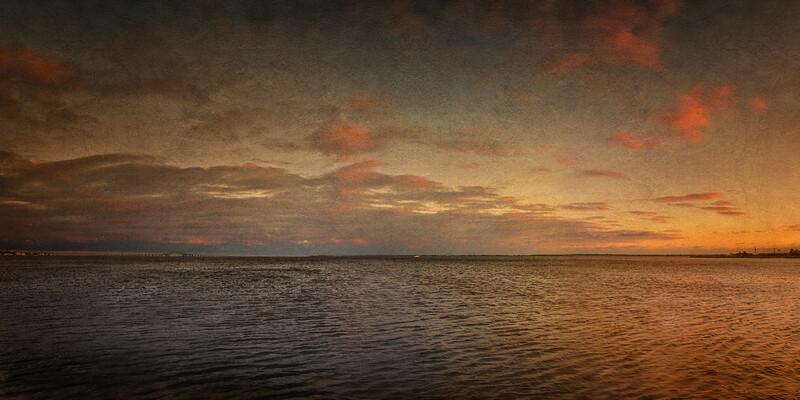 Towards Fire Island at Sunset, Venetian Yacht Club, Babylon, Suffolk County, Long Island, New York