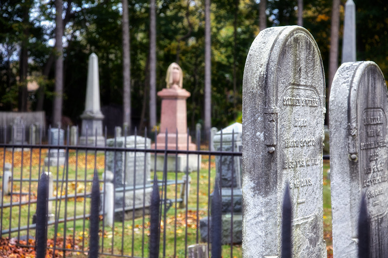 Tombstones and Fenced Plot.
