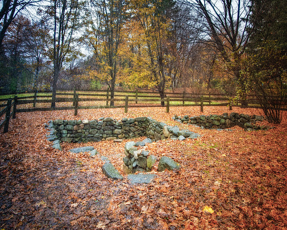 Salem Witch Hunt Locations: Foundation of the Old Salem Village Parsonage, c. 1681. Danvers, Formerly Salem Village, Essex County, Massachusetts