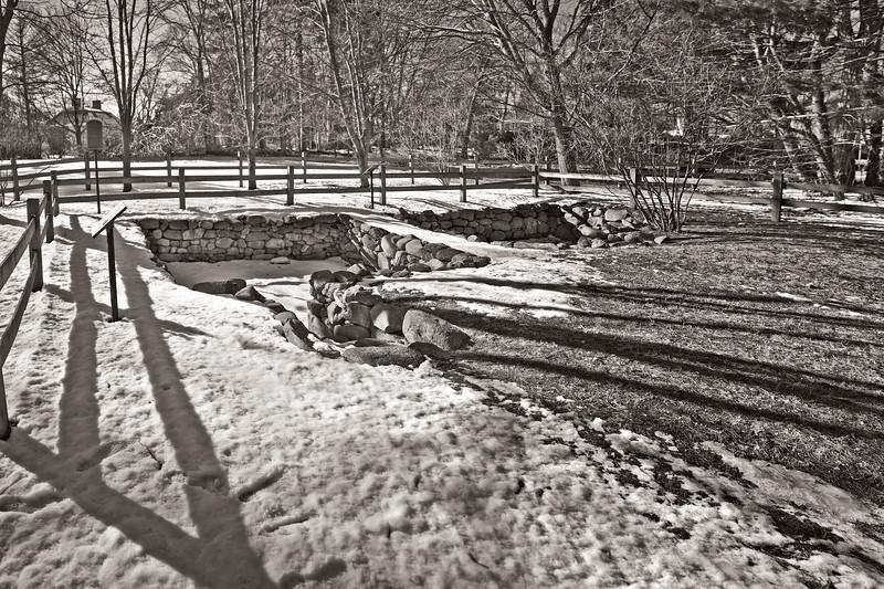 Salem Witch Hunt Locations: Foundation of the Old Salem Village Parsonage in Winter, c. 1681. Danvers, Formerly Salem Village, Essex County, Massachusetts