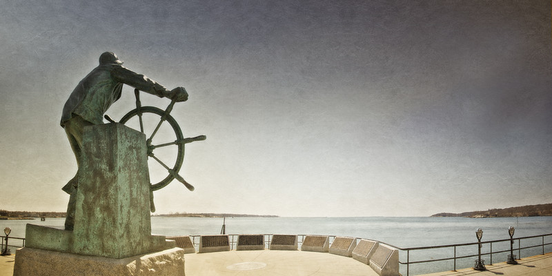 New England Landmarks: Fisherman's Memorial Cenotaph (Man at the Wheel Statue) from the Rear, Gloucester, Cape Ann, Wessex County, Massachusetts