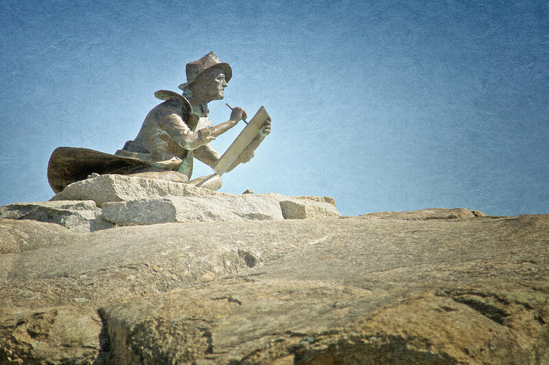 New England Landmarks: Fitz Hugh Lane Statue, Alfred Duca, Sculptor, Gloucester, Cape Ann, Wessex County, Massachusetts