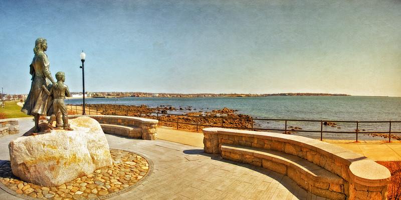 New England Landmarks: Gloucester Fisherman's Wives Memorial. Gloucester, Cape Ann, Wessex County, Massachusetts