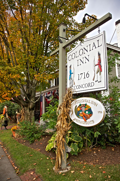 New England Tourism: Sign Decorated for Fall, Concord's Colonial Inn, Concord, Middlesex County, Massachusetts