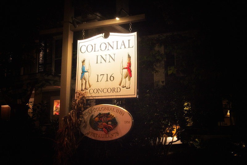 New England Tourism: Illuminated Sign, Concord's Colonial Inn, Concord, Middlesex County, Massachusetts