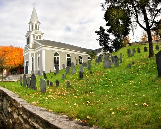 New England Architecture: St. Bernard's Church, c. 1742 and Old Burial Ground Hill, Concord, Middlesex County, Massachusetts