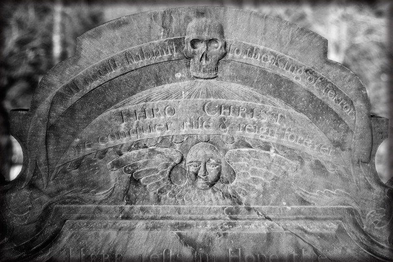 New England Funerary Art: Winged Soul Effigy and Skull, Tombstone, c. 1788. Old Burial Ground Hill, Concord, Middlesex County, Massachusetts