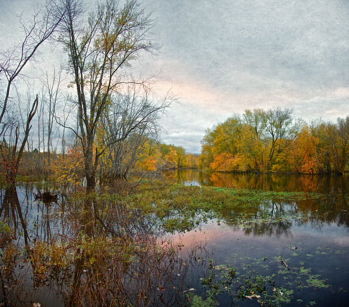New England Landscapes: Another View of the Concord River in Fall, Concord, Middlesex County, Massachusetts