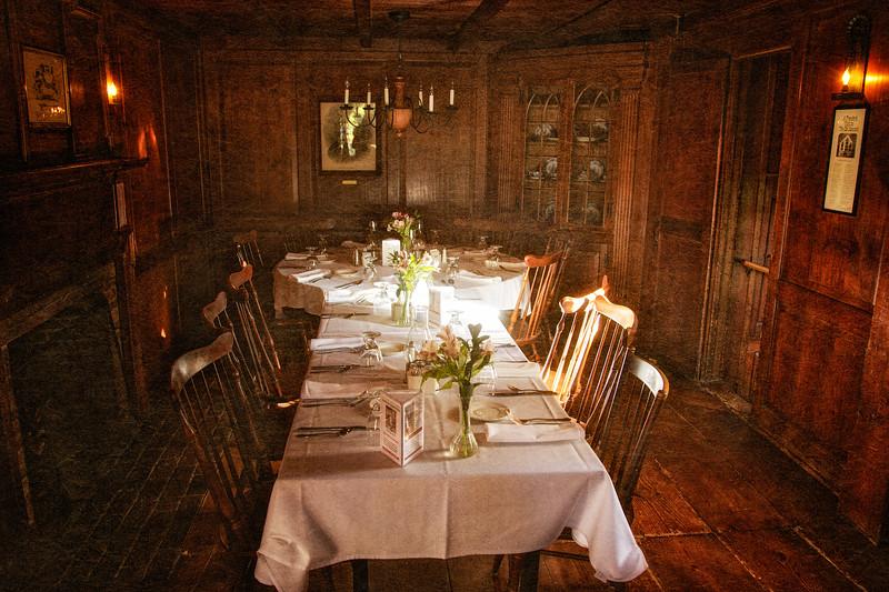 Colonial Era Architecture: Dining Room, Wayside Inn, c. 1716, Sudbury, Middlesex County, Massachusetts