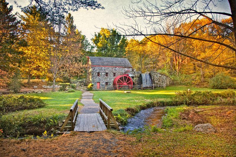 New England Landscapes: Wayside Inn Grist Mill, c. 1925.  Wayside Inn, Sudbury, Middlesex County, Massachusetts