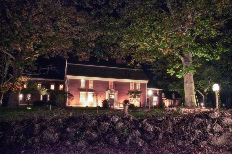 Colonial Era Architecture: Wayside Inn at Night, c. 1716, Sudbury, Middlesex County, Massachusetts