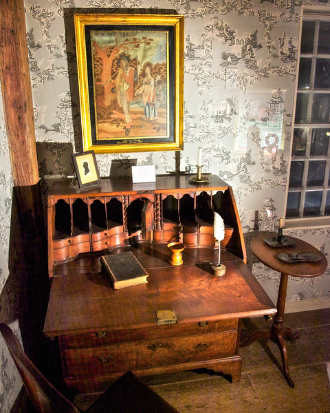 Colonial Era Architecture: Secretary in the Museum at the Wayside Inn, c. 1716, Sudbury, Middlesex County, Massachusetts