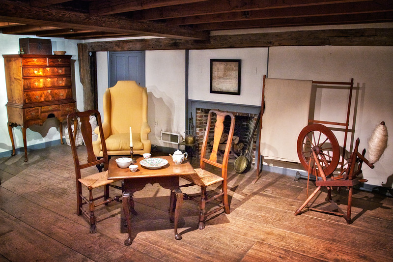 Colonial Era Architecture: Furniture in the Museum at the Wayside Inn, c. 1716, Sudbury, Middlesex County, Massachusetts