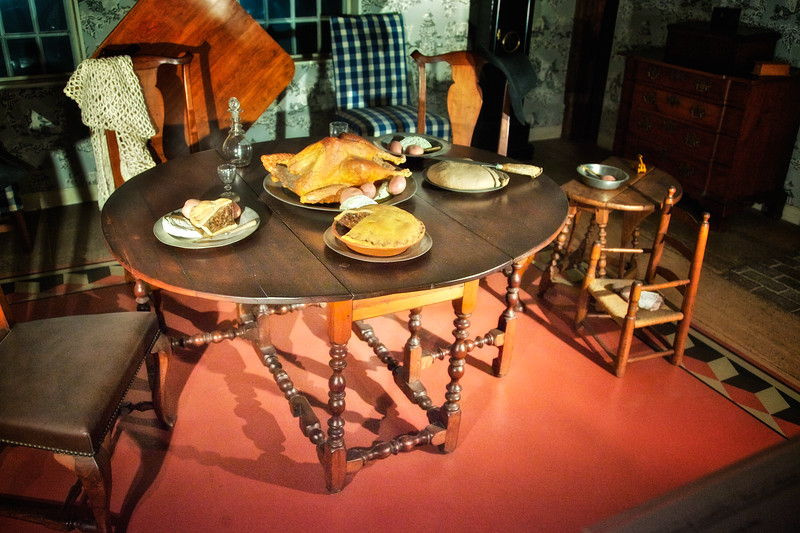 Colonial Era Architecture: Dining Table in the Museum at the Wayside Inn, c. 1716, Sudbury, Middlesex County, Massachusetts