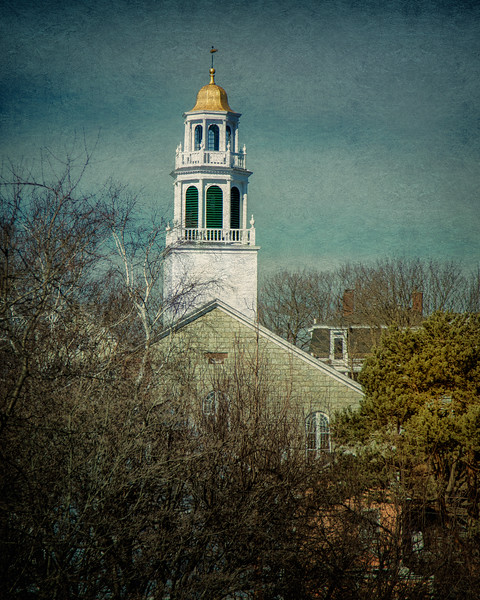 New England Architecture: Old North Church, c. 1824. Marblehead, Essex County, Massachusetts