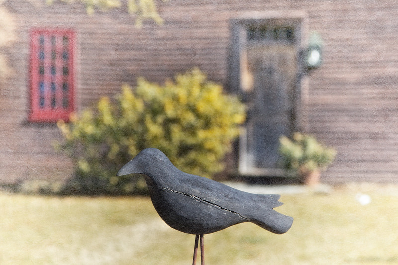 Colonial Era Architecture: Wooden Crow in front of the John Atkinson House, circa 1664-1665, Newbury, Essex County, Massachusetts