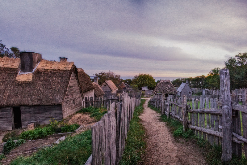 Life in Plymouth Colony: Garden Path at Sunrise, 1627 English Village, Plimoth Plantation, Plymouth, Massachusetts