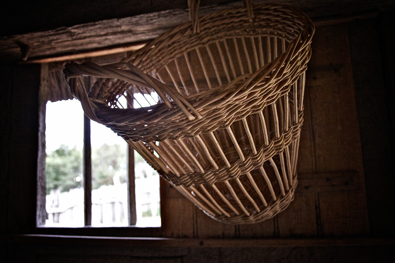 Life in Plymouth Colony: Wicker Basket Hanging From the Ceiling, 1627 English Village, Plimoth Plantation, Plymouth, Massachusetts