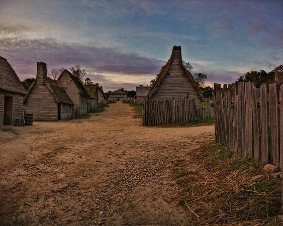 Life in Plymouth Colony: Towards Plymouth Bay down Leyden Street at Sunrise, 1627 English Village, Plimoth Plantation, Plymouth, Massachusetts
