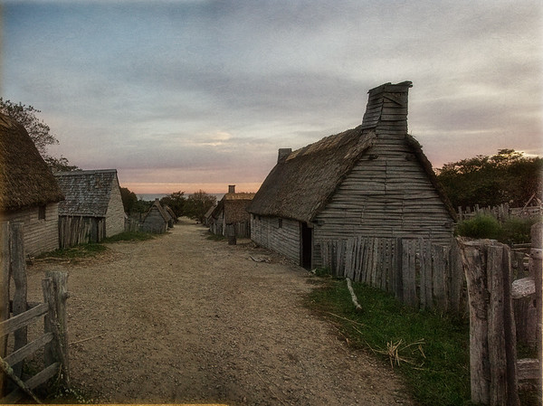 Life in Plymouth Colony: Towards the Pilgrim Fort/Meetinghouse up Leyden Street at Sunrise, 1627 English Village, Plimoth Plantation, Plymouth, Massachusetts