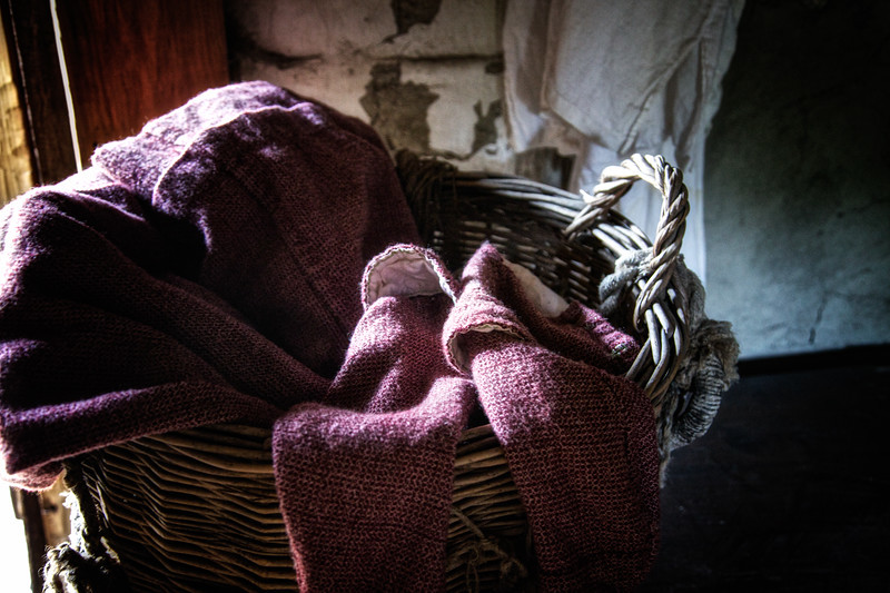 Life in Plymouth Colony: Linsey Woolen in a Basket, 1627 English Village, Plimoth Plantation, Plymouth, Massachusetts