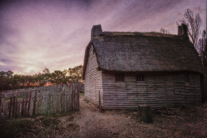 Life in Plymouth Colony: Pilgrim Home at Sunrise, 1627 English Village, Plimoth Plantation, Plymouth, Massachusetts