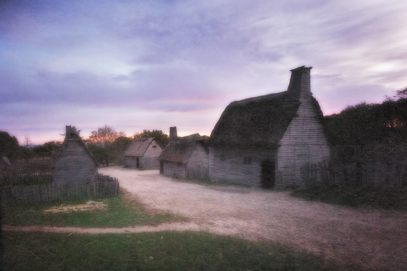 Life in Plymouth Colony: Leyden Street at Sunrise, 1627 English Village, Plimoth Plantation, Plymouth, Massachusetts