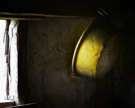 Life in Plymouth Colony: Green Tin Pan Hanging from the Ceiling, 1627 English Village, Plimoth Plantation, Plymouth, Massachusetts