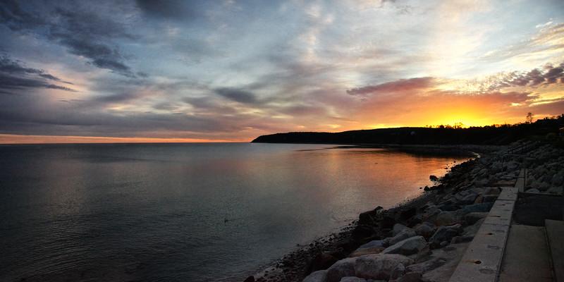 New England Landmarks: Sunrise over Plymouth Bay Coast, Plymouth, Massachusetts