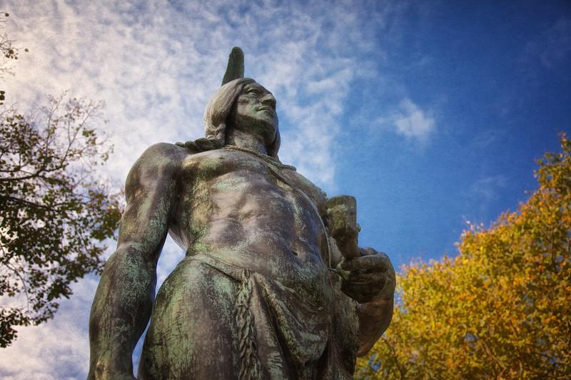 New England Landmarks: Statue of Massosoit in Fall, Plymouth, Massachusetts