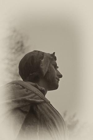 New England Landmarks: The Pilgrim Maiden, Henry Hudson Kitson, 1922, Brewster Gardens, Plymouth Massachusetts