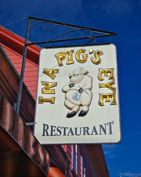 Salem Tourism: Sign For In A Pig's Eye Restaurant, Salem, Essex County, Massachusetts