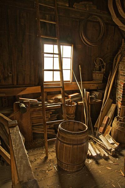Nineteenth Century Daily Life:  Interior of Cooper Shop. Freeman Farm, c. 1840. Old Sturbridge Village, Worcester County, Massachusetts