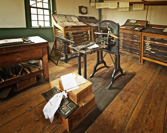 Colonial Era Printing: Interior of Print Shop, Worcester Printing Office, c. 1780. Old Sturbridge Village, Worcester County, Massachusetts