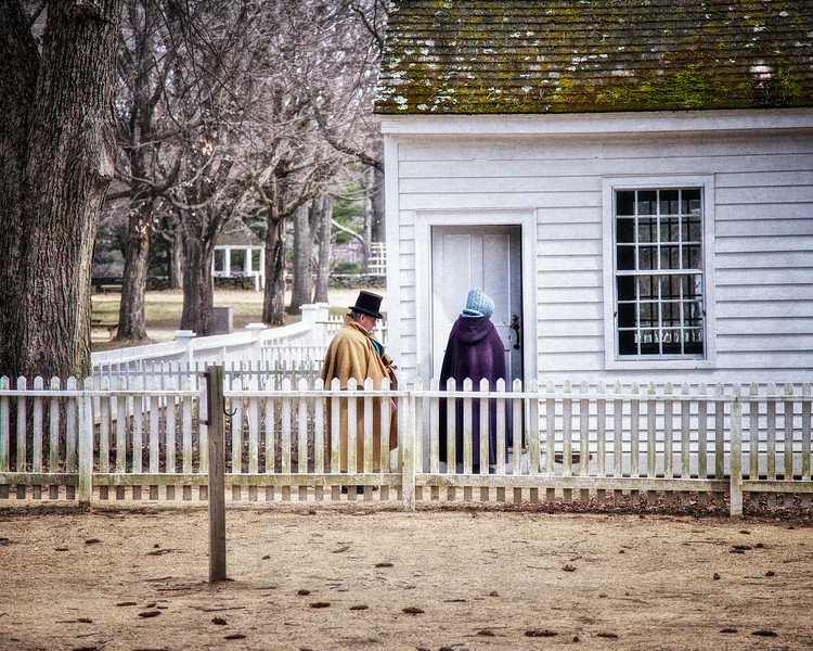 Nineteenth Century Daily Life:  Two Costumed Interpreters Entering Law Office, c. 1796. Old Sturbridge Village, Worcester County, Massachusetts