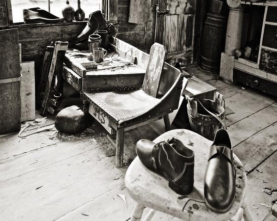 Nineteenth Century Daily Life:  Shoe Shop Interior, c. 1800-1850. Old Sturbridge Village, Worcester County, Massachusetts