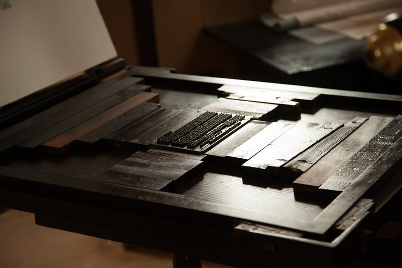 Colonial Era Printing: Letter Press Bed and Metal Type, Worcester Printing Office, c. 1780. Old Sturbridge Village, Worcester County, Massachusetts